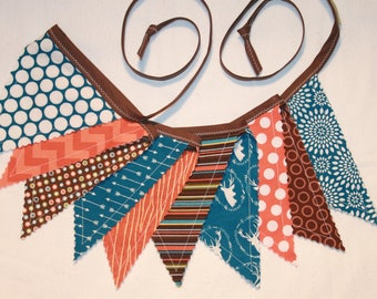 Pennant bunting fabric banner in orange brown blue - 10 double sided flags total