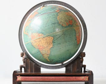 Vintage Replogle Globe, Atlas Men Base, Art Deco Style, 1930s