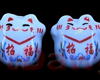 4 Porcelain Maneki Neko, or Beckoning Cat Porcelain Beads - Garden