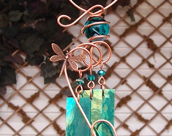 Dragonfly Windchime Glass Wind Chimes Copper Garden Lawn Yard Art Sculpture Stained Glass Ornament Metal Teal