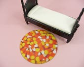 DOLLHOUSE RUG Candy Corn Halloween Miniature Round Throw Doll House Fall Decor Decoration Beautiful Faux Carpet Fabric Orange Yellow White