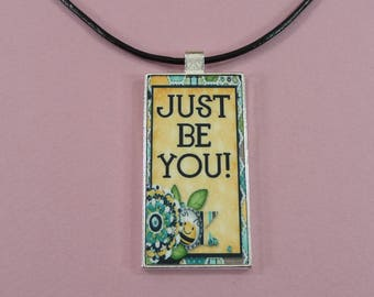 "NECKLACE or KEYCHAIN Just Be You Domino Pendant Key Fob Gift for Her Matching Choker 18""  Key Ring Bee Theme Cute"