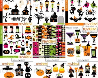 50% OFF SALE Halloween Super clipart big mega bundle - Halloween party clip art, haunted house, ghosts - digital images