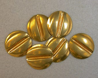 Vintage Brass STAMPING ROUND New Old Stock Folded 18mm pkg6  m88