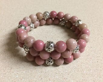 Pink Rhodochrosite bead bracelet memory wire silver accent beads