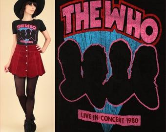 ViNtAgE 1980 THE WHO Tour Shirt // Rare Graphic 1980 Tour // Black Pink 80s Rock T-Shirt Concert Womens XS S