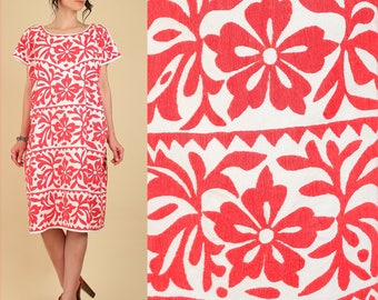 AMAZING ViNtAgE Otomi Huipil Mexican Caftan Dress Hand Embroidered Traditional Floral Rare Cotton Red Artisan Free Size s / m / l / xl