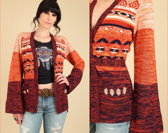 Vintage Wrap Sweater Space Dyed 70's // Bell Sleeve Cardigan // With Belt Belted // HiPPiE BoHo