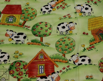 "Here a Moo, There a Moo Cows on Farm by Andover Fabrics   100% cotton fabric 44-45"" wide"