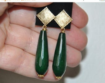 Beaded dangling post earrings in Gold,  sterling silver posts, green jade long briolette teardrop