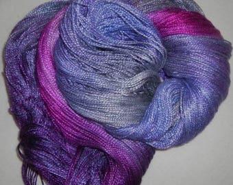 Hand dyed Tencel Yarn - 4/2 Tencel Lace Wt. Yarn  BOYSENBERRY - 420 yards
