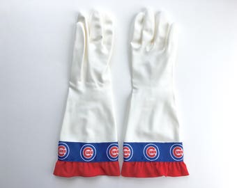 Designer Cleaning Gloves. Chicago Cubs. Size Small, Medium and Large. Latex Free Kitchen Dish Gloves. Sports Team.