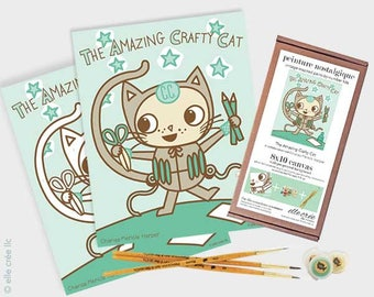 FOR KIDS the amazing crafty cat - 8x10 paint-by-number kit