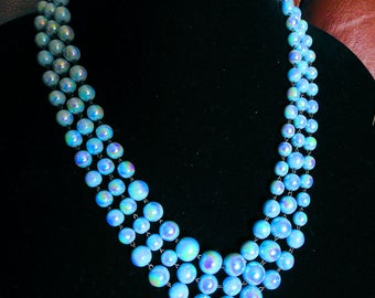 Vintage Blue Luster Necklace, 66 inch Ladies Flapper lenght Necklace