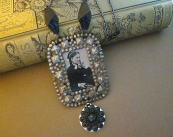 Antique Tintype Necklace Assemblage Pensive Paulina