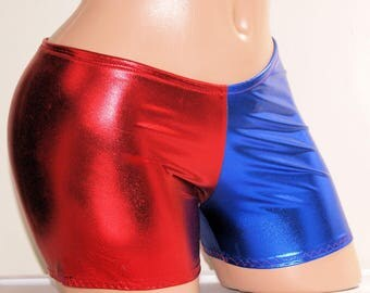 Harley Quinn Suicide Blue Red Longer Boy Shorts Adult Medium - MTCoffinz - Ready to Ship