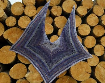 First Fall Sale - 15% Off Post Apocalyptic MANTA Shawl - Handknit in Handspun Yarn, Slight Sparkle, Purple, Grey, Pink, Luxe Merino Wool, Ba