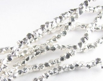 SHOP SALE 3mm Rounded Square Sterling Silver Brushed Nugget Spacer Beads (20 beads)