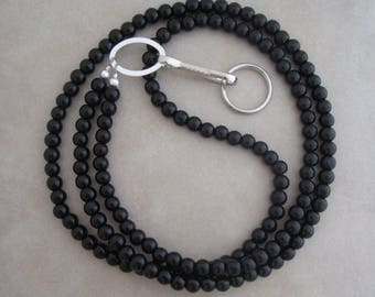 black obsidian silver lanyard badge ID holder