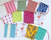 fabric scrap little flamingo party flags, banner, bunting, photo prop. Sewn bakers twine flags, colorful fabric scrap flags, nursery decor