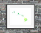 Hawaii watercolor typogra...