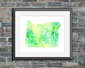 Oregon watercolor typogra...