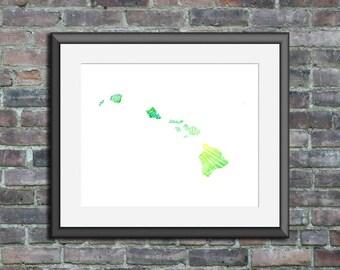 Hawaii watercolor typography map art unframed print state poster wedding engagement graduation gift anniversary wall art decor beach house