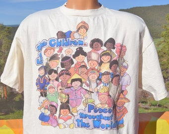 vintage 90s tee shirt world PEACE for children love diversity hippie t-shirt Large XL festival