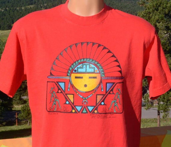vintage 90s tee PUEBLO SUN new mexico native american indian art t-shirt Large Medium rainbow