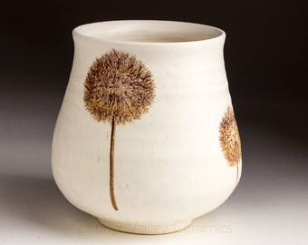 Yunomi Style Tea Bowl - Juice Cup - Pottery Glass - Handleless Mug - Ceramic Wine Cup - Stoneware Tumbler - White Ceramic Cup with Dandelion