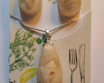 COASTAL White Seashell and Sand necklace Earrings Set Beach Ocean Set Handmade
