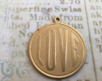 Small LOVE Charms Set of 6 Brass