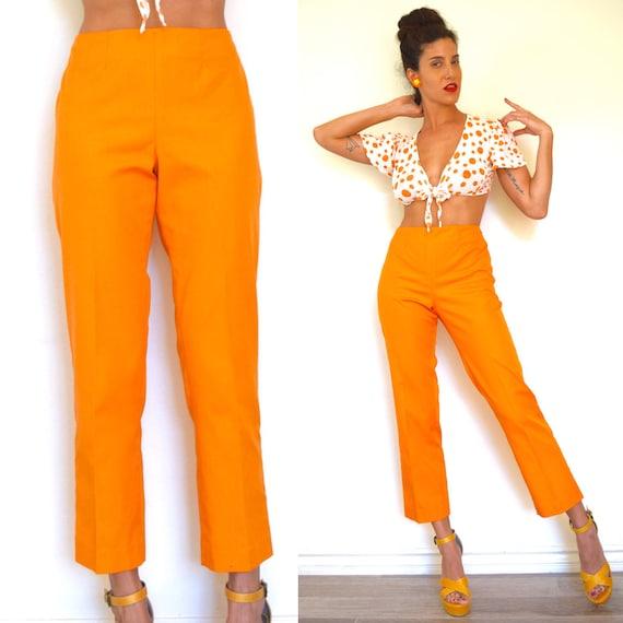 Vintage 50s 60s Tangerine Orange High Waisted Cigarette Leg Trousers (size medium)