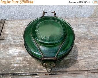 ON SALE Vintage Antique 1900 French L'ideale Foie gras green thick glass jar / Conserve jar /