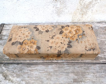 Vintage Antique 1930 /30s French faded floral cotton fabric  gloves box/ sewing box
