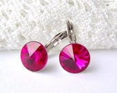 SALE Hot pink rhinestone leverback earrings / fuchsia earrings / surgical stainless steel / gift for her / Swarovski / hypoallergenic