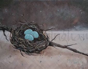 "Original Fine Art Painting - Acrylic on Canvas - 12"" x 16"" - Robin's Egg Nest Primitive Still Life Artwork"
