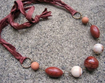 Eco-Friendly Silk Ribbon Statement Necklace - Things Are Bad, Send Chocolate - Ribbon from Recycled Saris, Vintage Beads in Shades of Brown