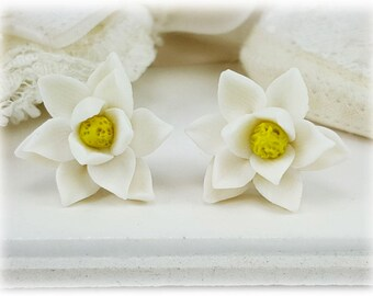 Magnolia Earrings Stud or Clip On - Magnolia Jewelry