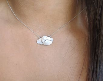 Clouds Necklace To the Moon and Back Necklace Mommy & Me Necklace Sterling Silver Opal Necklace October Birthstone Handmade Cloud Pendant