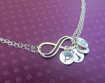 ON SALE Personalized Infinity Necklace Up to FOUR initials of choice,Sterling Silver Mother's Necklace,Friendship Necklace Gift,Sideways Inf