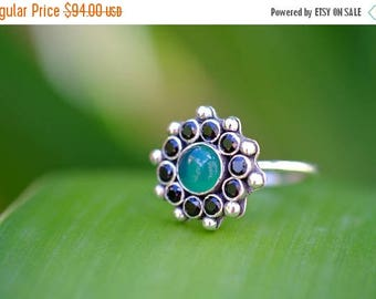 ON SALE Onyx Ring, Flower Ring, Statement Ring, Handmade Jewelry, Sterling Silver Ring, Gift for Her, Anniversary Ring, Ready to Ship, Size