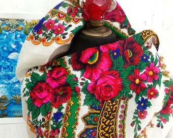 Vintage Portuguese folk head handkerchief