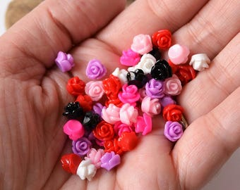 7.5mm Rose Cabochons Colorful Resin Flat Back Flower Pieces Undrilled Solid Floral Decoden Flowers in Red, Pinks, Purple, White, Black