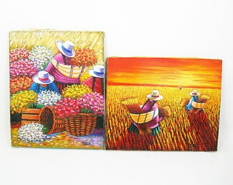"Oil Paintings on Canvas - Peruvian Gossip Women - Colorful ""Flower Market"" and ""Harvesting"" Pictures - Vintage Unframed Art Measure 8 x 10"