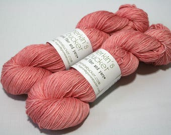 "Hand Painted Artisan Yarn, ""Pinky Swear"" colorway (#81517), COTTON/SW Merino Wool Yarn, Cotton Sheep Sock"