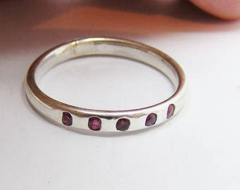 Silver and Ruby stacking ring, finger size V 1/2 us 11