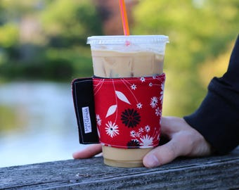 Whats Up Your Sleeve Reusable Fabric Ice Coffee Sleeve Red Flowers