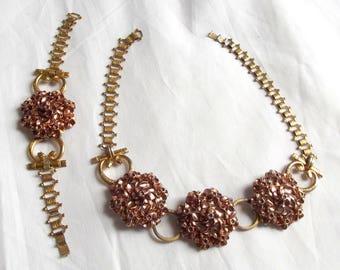 Vintage Monet Necklace Bracelet Etruscan Jewelry Set Gold Tone Rose Gold Flower Book Chain Mid Century