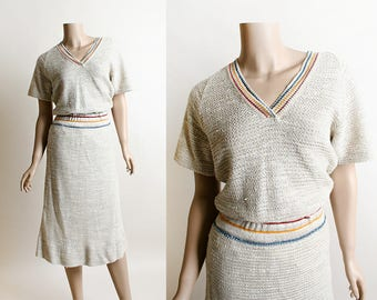 Vintage 1970s Knit Dress - I. Magnin Oatmeal Crochet Style Dress with Rainbow Details - Stretch Knit - Small